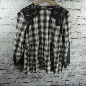 ZARA Woman Plaid Flannel Black Lace Trim Top